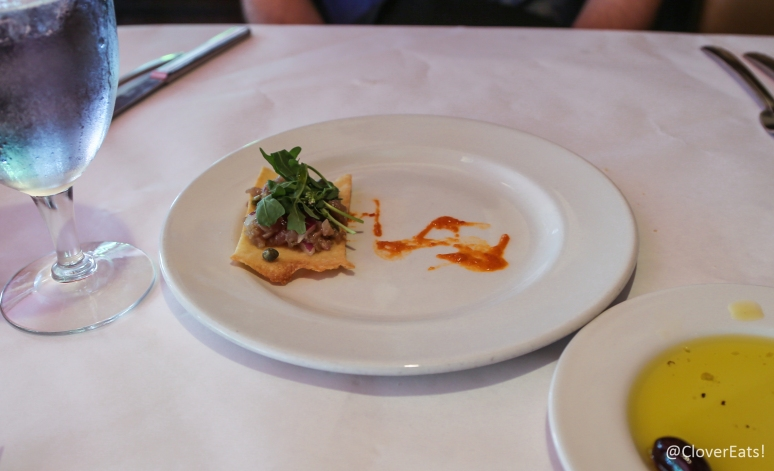 Crudo di tonno - yellowfin tuna tatare, Abruzzese sauce, Sardinian flatbread