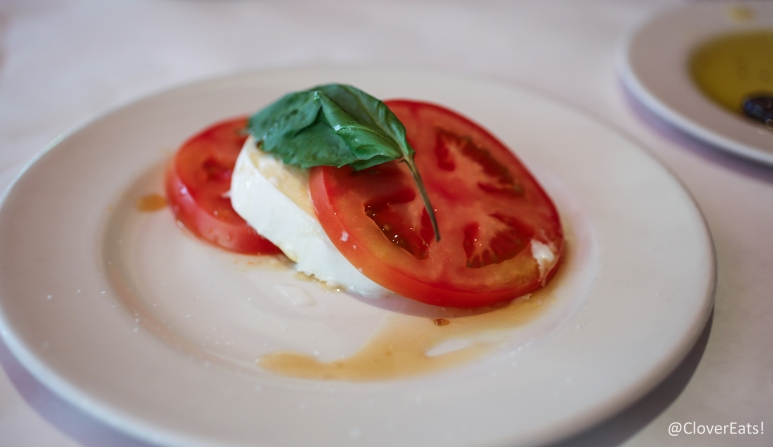 Caprese with imported buffalo mozzarella, tomato, basil