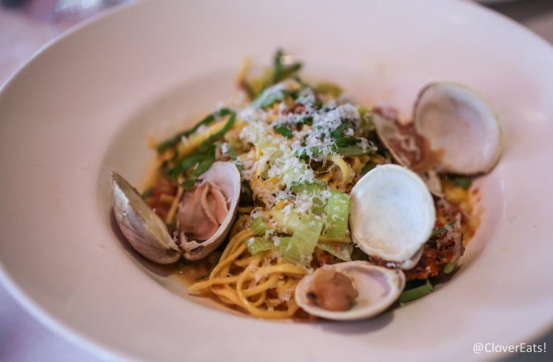 Spaghetti con vongole - littleneck clams, Calabrese sausage, sweet corn, leeks