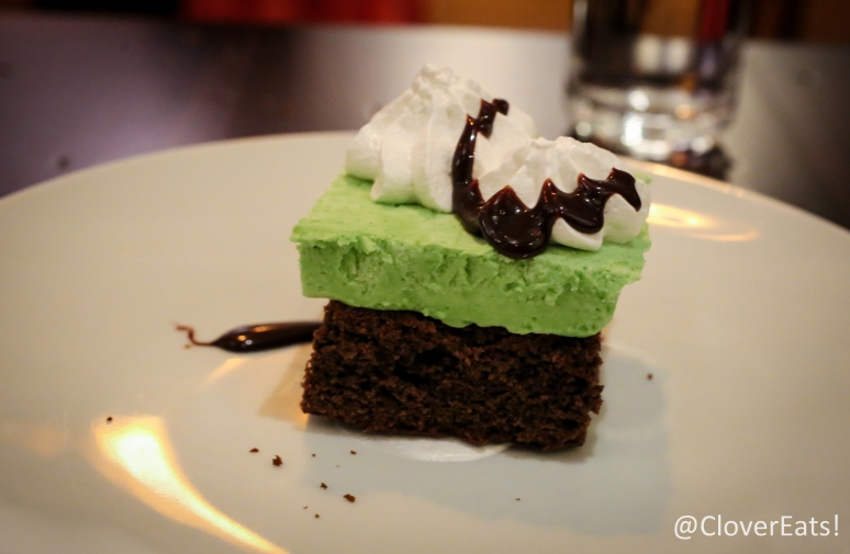 Nanaimo bar - chocolate brownie cookie, vanilla marshmallow, mint mousse