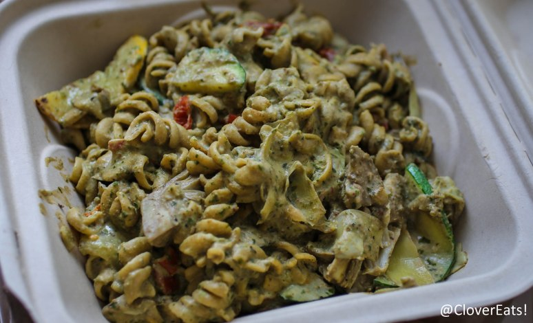 Garlic Cream Pesto Pasta - artichokes, squash, zucchini, sun dried tomatoes, garlic cream pesto sauce