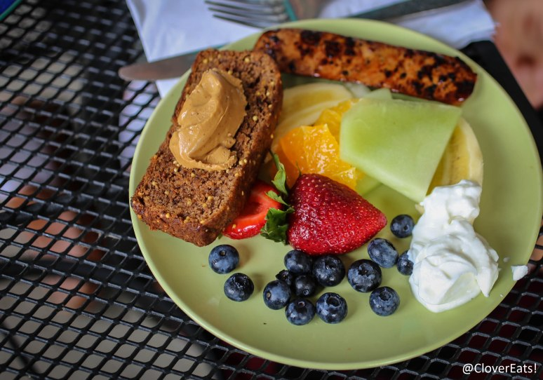 "Good Morning Sunshine - ""A slice of our whole grain Crackly Banana Bread w/fresh fruit, natural peanut butter,  Greek yogurt & a drizzle of maple syrup."""