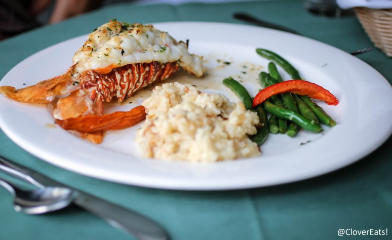 SOUTH AFRICAN LOBSTER TAIL  - A 7 OZ. LOBSTER TAIL BROILED AND TOPPED WITH A BEURRE BLANC SAUCE ACCOMPANIED BY A PANCETTA RISOTTO