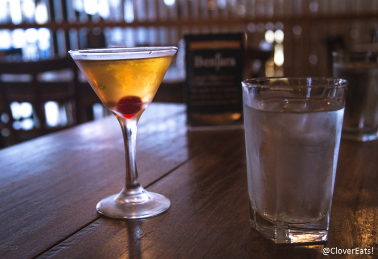 Bentara's Martini - Gin, banana liquor, coco rum, sweet and dry vermouth, orange, cherry
