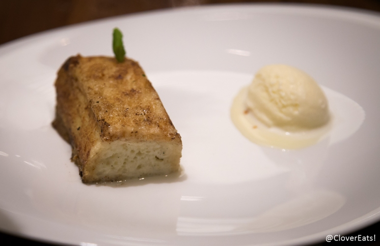 torrija caramelized soaked brioche, tahini vanilla infused milk, honey-rosemary ice cream