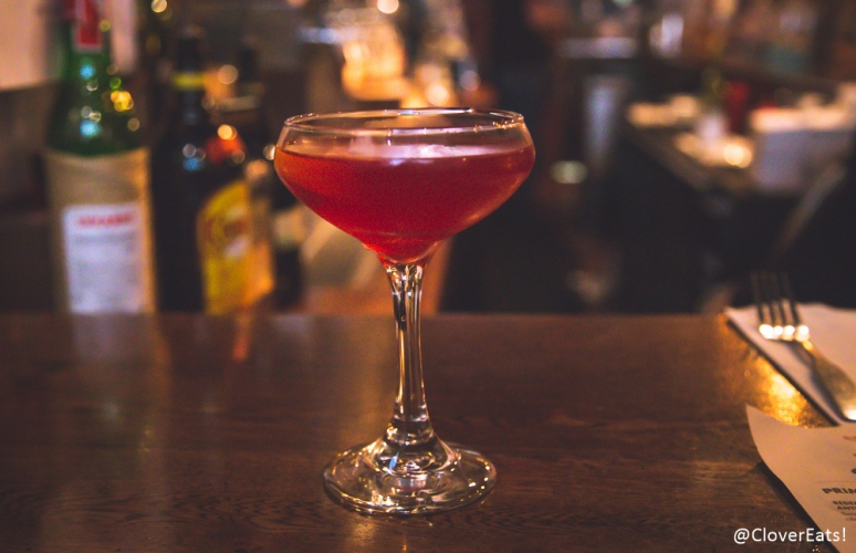Citrus cosmo - house infused citrus vodka, house sour, cranberry juice, lime