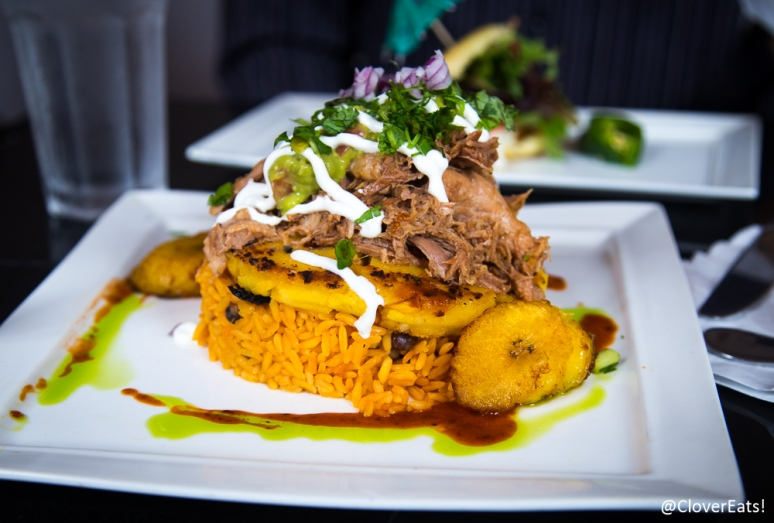 Chancho (orange pulled pork) Colombian arepa