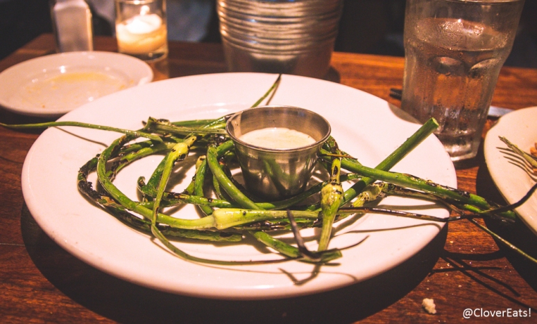 Grilled Garlic Scapes with Sherry Aioli