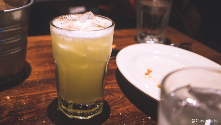 Mind Your Bees & Suze: Bar Hill Gin, Suze Saveur d'Autrefois, Lemon Juice, Pasteurized Egg Whites, Nutmeg