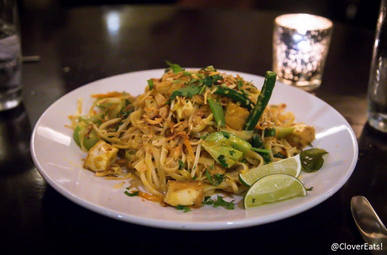 Singaporean Noodles Rice Noodles/ Red Chile + Coconut Milk/ Tofu + Lime/ Green Beans + Bean Sprouts