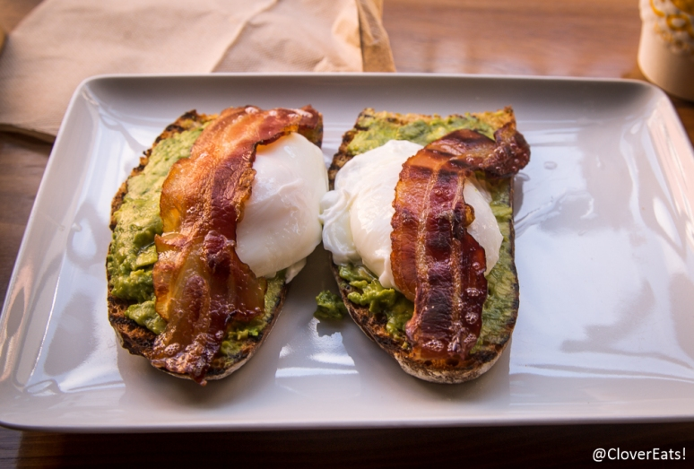 Avocado on toast, egg, bacon tartine