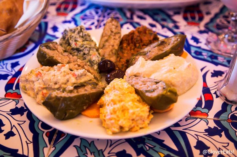 "Soquk Meze ""Cool Spread"": Nohut Ezme, Patlican Salata, Antep Ezme, Ispanak Ezme, Yaprak Dolma and carrot salad"