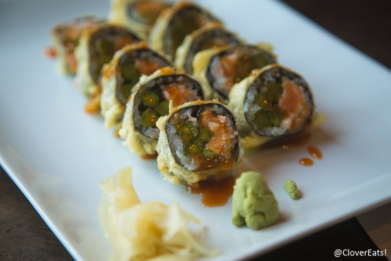 Sunflower Roll - salmon, asparagus, fried, spicy miso sauce
