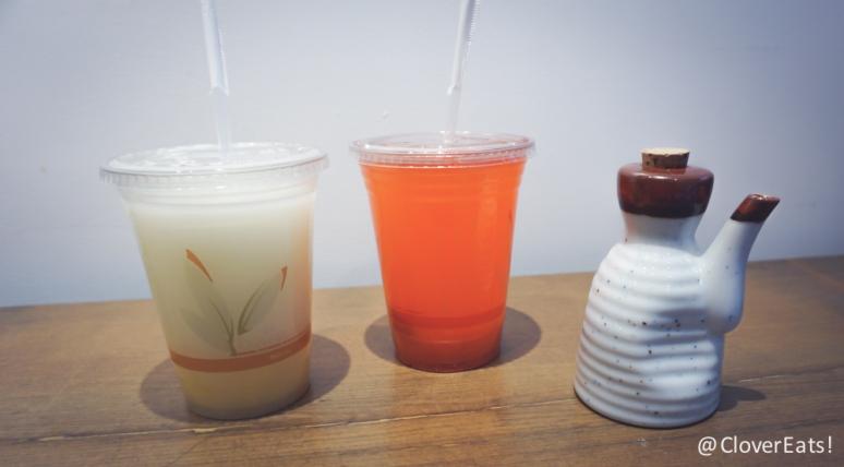 Strawberry kiwi yuzu juice and orange coconut juice