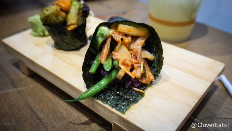 Kim-Chee Hand Roll - avocado, tofu, kimchi, grilled haricot vert, six-grain rice, sweet soy mirin sauce
