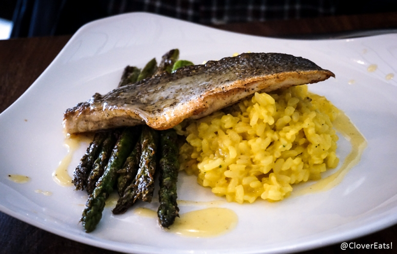 Fish of the Day: saffron risotto, seared asparagus, herbed lemon butter sauce