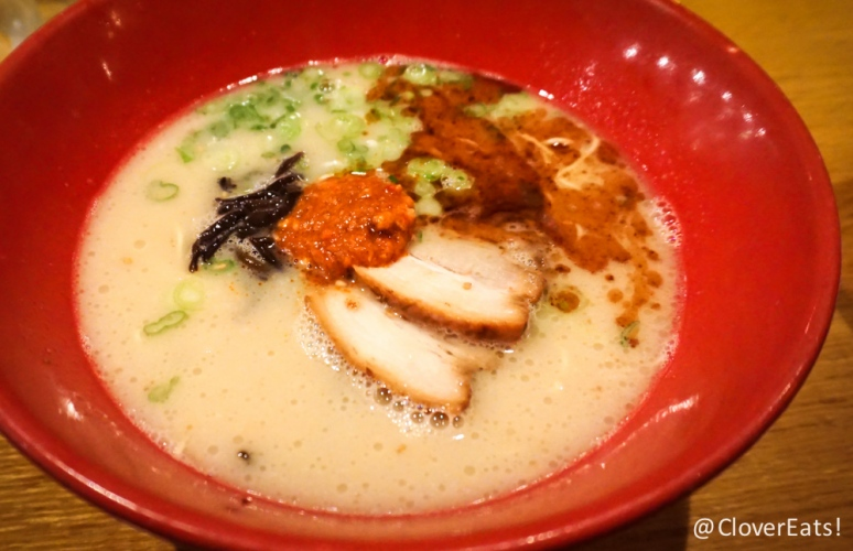 "Akamaru Modern ""A more bold translation of the original pork broth; thin noodles topped with Ippudo's secret ""Umami Dama"" miso paste, pork chashu, cabbage, sesame kikurage mushrooms, scallions, and fragrant garlic oil."""
