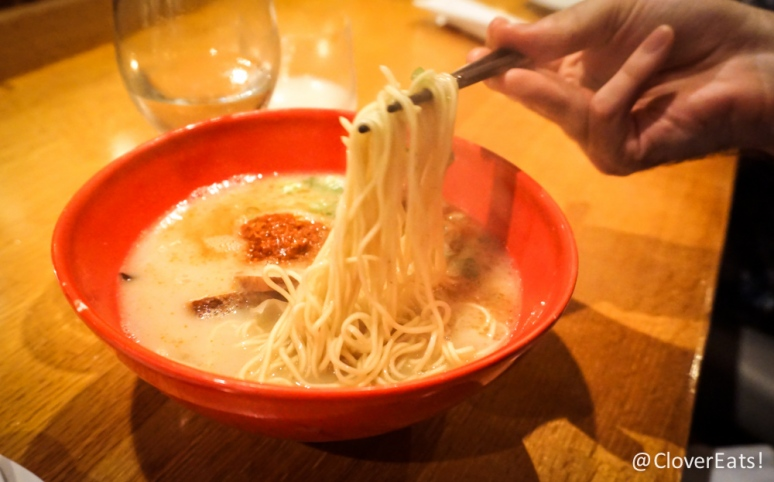 "Karaka-men ""The original ""Tonkotsu""(pork) broth with an added kick; thin noodles with Ippudo's special blend of hot spices, topped with pork chashu, cabbage, sesame kikurage mushrooms, scallions, and fragrant garlic oil."""