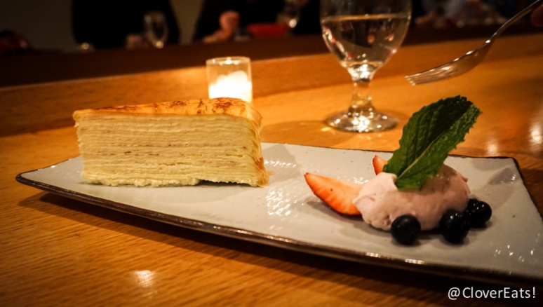 Lady M Mille Feuille Crepe with pastry cream filling, house cranberry cream