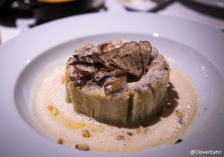 Macaroni Charlotte - sauteed mushrooms, swiss chards persillade, burgundy truffle and parmesan emulsion