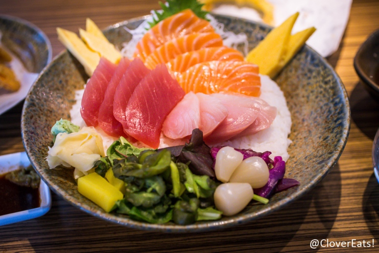 Blufish Don - Tuna, salmon, yellowtail, tamago, sushi rice, assorted Japanese pickle
