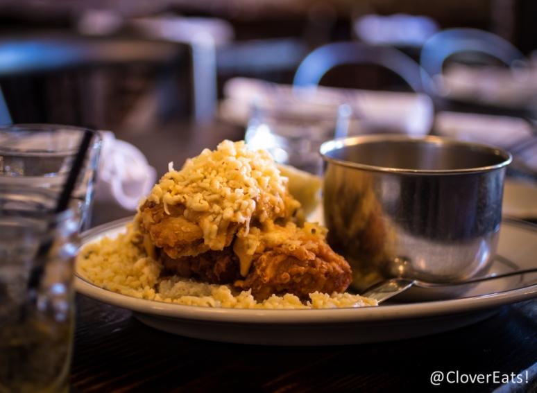 Buttermilk fried chicken, BBQ, grits