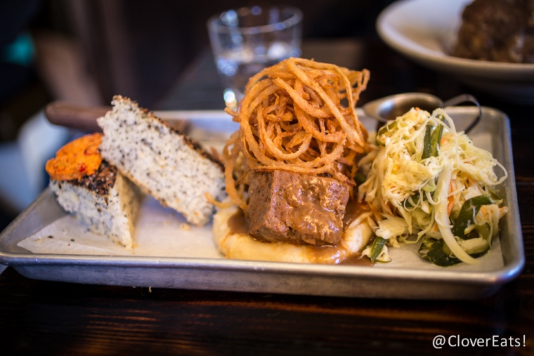 Meatloaf, whipped potatoes, frizzled onions, green bean pickled slaw