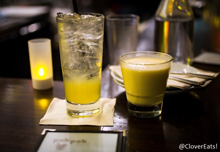 Orange drinking vinegar and Mango Alexander - mango, vodka, coconut cream and lime, shaken and served up.