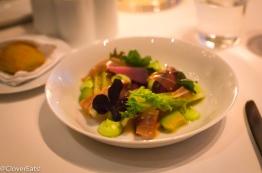 Salad of slow-roasted radishes: Serrano ham, Hass avocado, gem lettuce, Green Goddess dressing